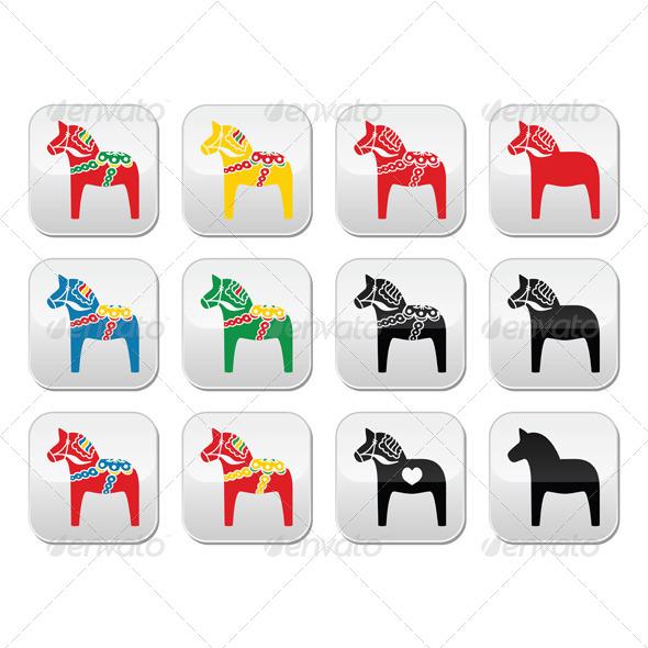 Swedish Dalecarlian Dala Horse Set - Animals Characters