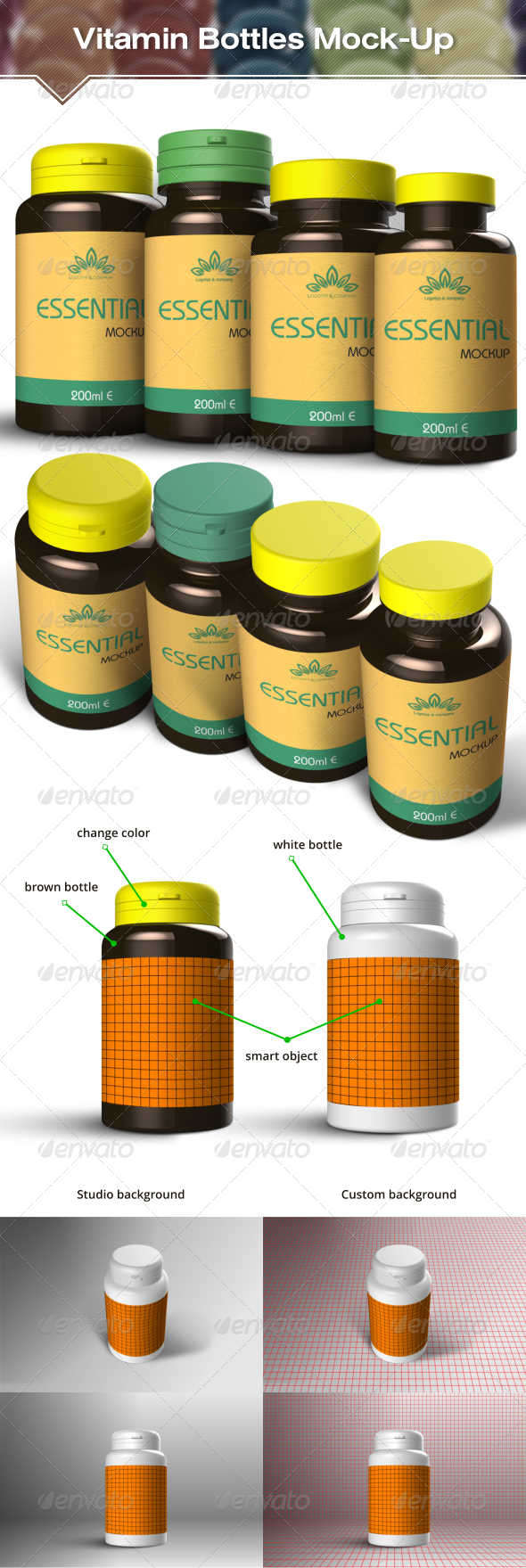Vitamin and  Pill Bottles Mockup - Packaging Product Mock-Ups