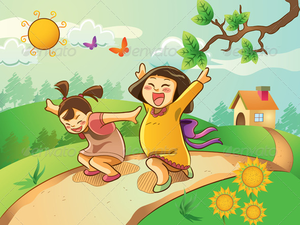 Happy Kids Playing in The Garden - People Characters