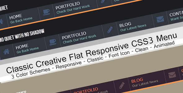 Classic Flat Corporate Drop-Down Horizontal Menu - CodeCanyon Item for Sale
