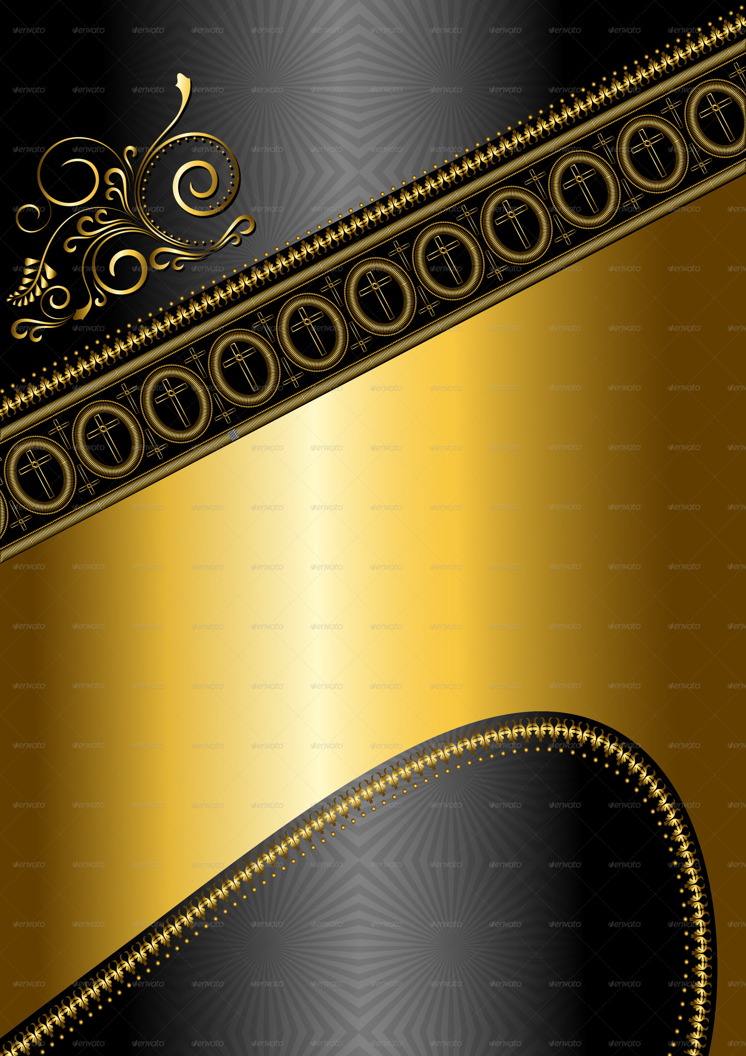 Golden Pattern and Border with Crosses by tatyanamh ... Fancy Corner Border Vector