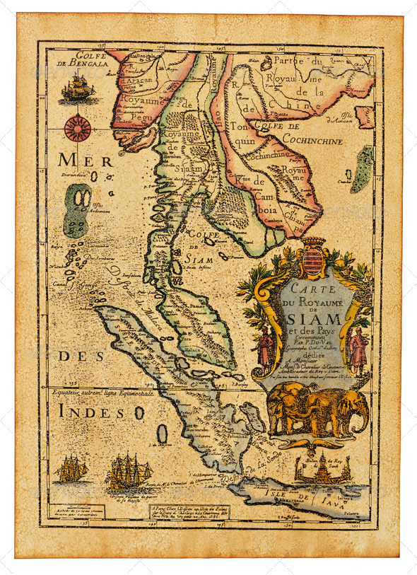 Antique Thailand map - Stock Photo - Images