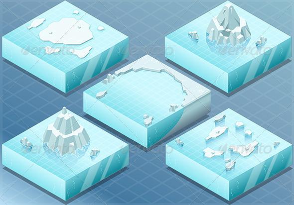 Isometric Arctic Sea with Iceberg - Nature Conceptual