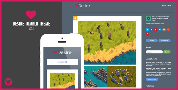 Free Download Desire - A Responsive Tumblr Theme Nulled Latest Version