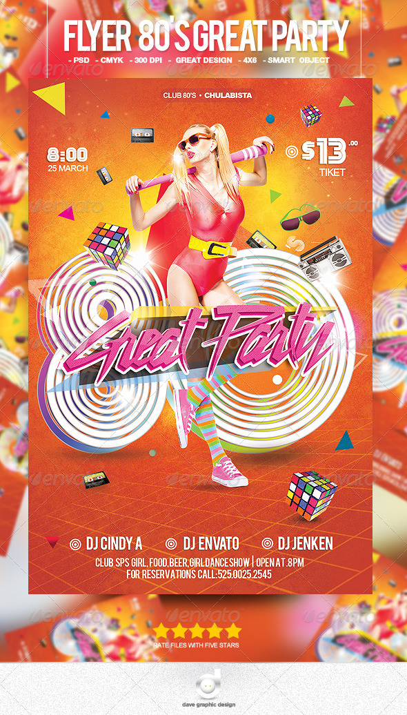 Flyer 80's Great Party - Clubs & Parties Events