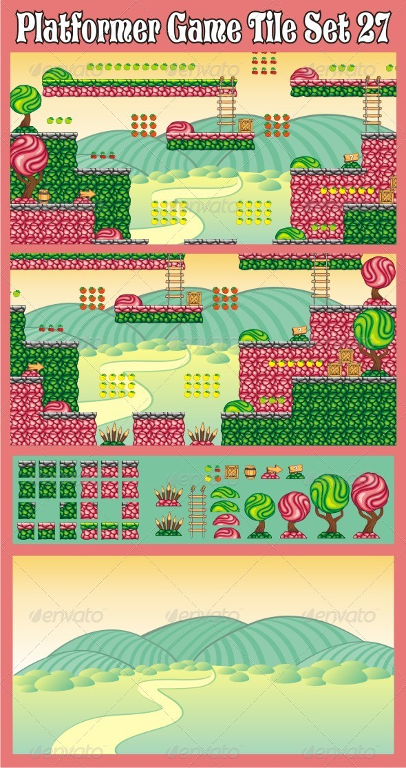 Platformer Game Tile Set 27 - Tilesets Game Assets
