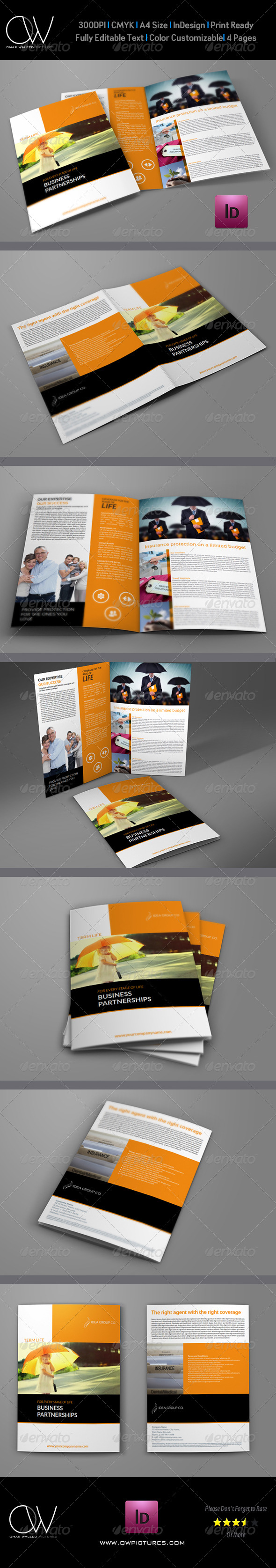 Company Brochure Insurance Bi-Fold Design Template - Corporate Brochures