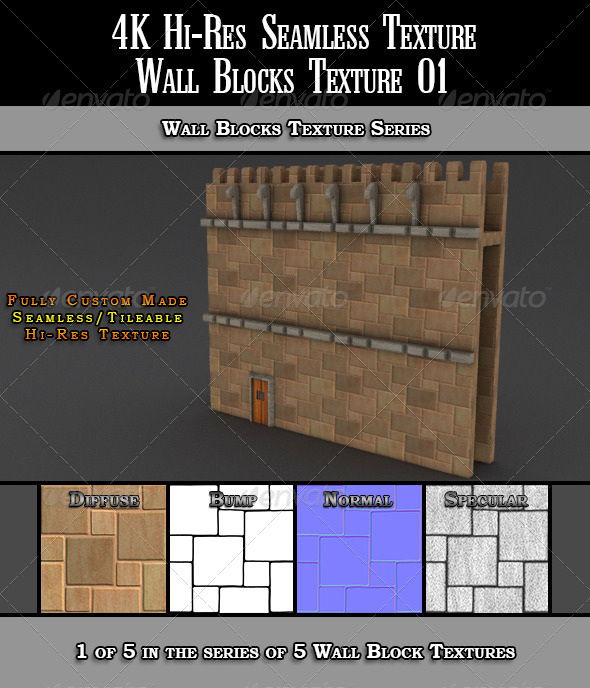 Hi-Res 4k Wall Blocks Texture 01 - 3DOcean Item for Sale
