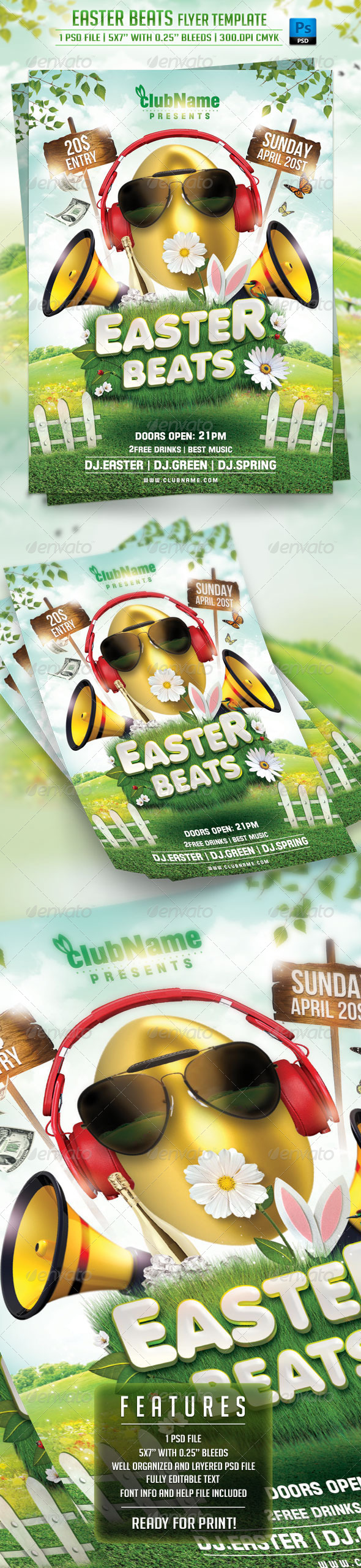 Easter Beats Flyer Template - Holidays Events