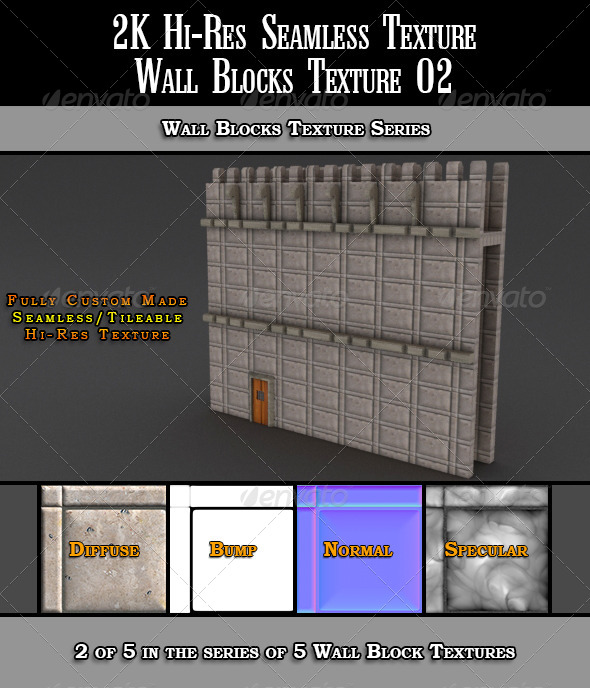 Hi-Res 2k Wall Blocks Texture 02 - 3DOcean Item for Sale