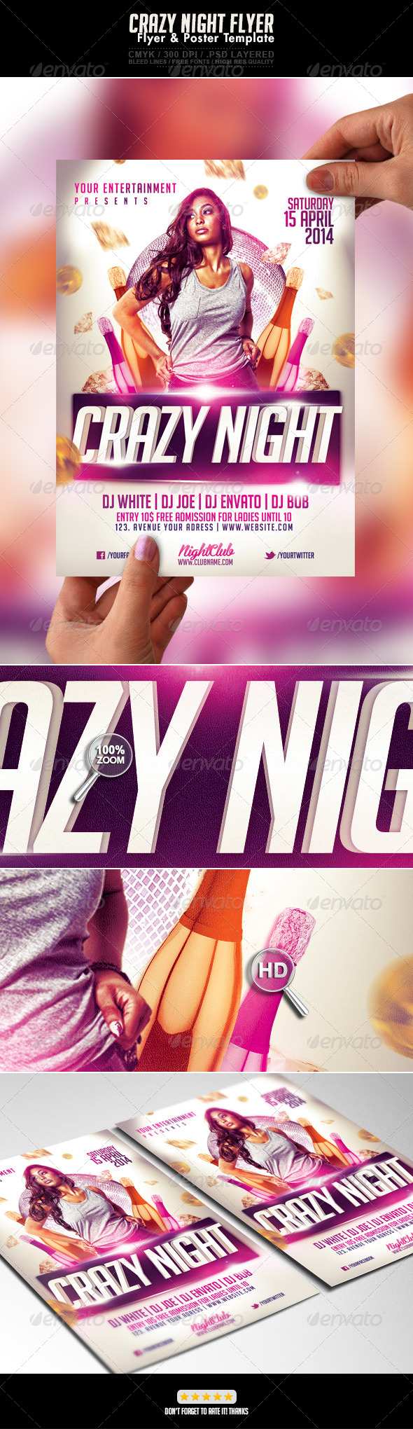 Crazy Woman Gold Night Flyer - Events Flyers