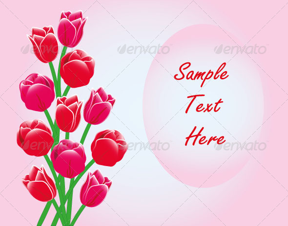 Red Tulips Frame Card Text - Seasons/Holidays Conceptual