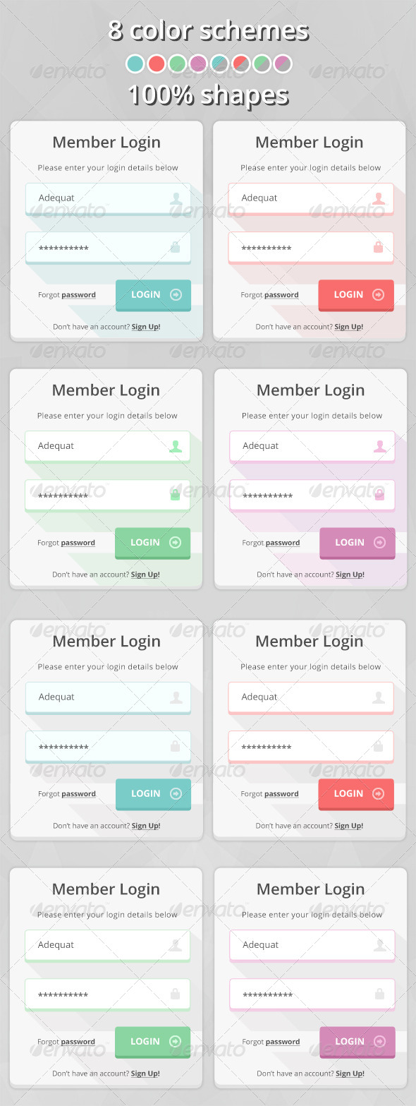 Flat Simple Login Form - Forms Web Elements