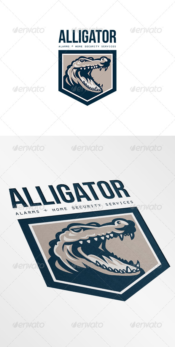 Alligator Alarms and Home Security Logo - Animals Logo Templates