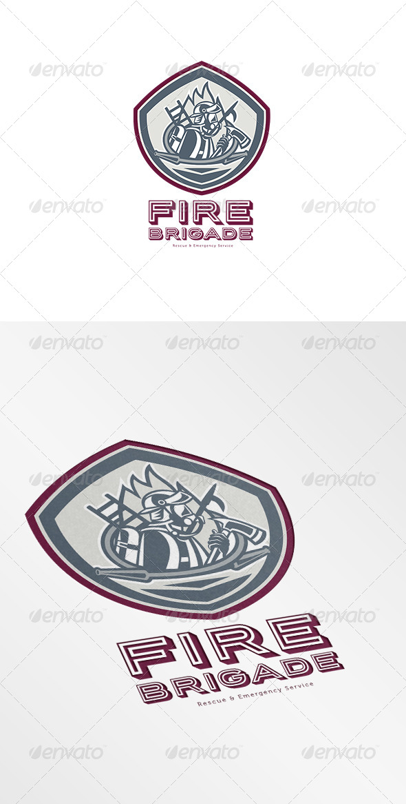 Fire Brigade Rescue and Emergency Services Logo - Humans Logo Templates