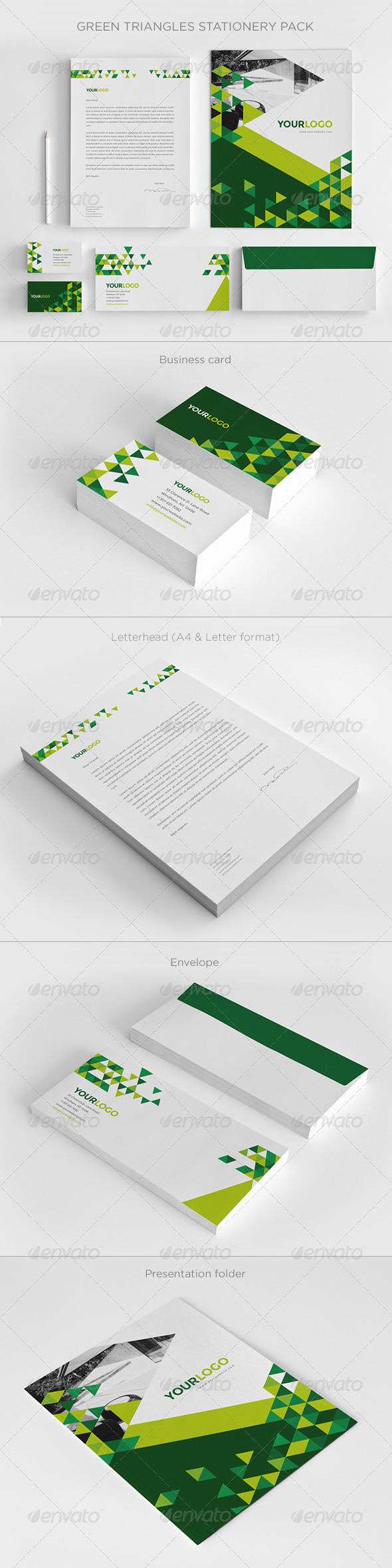 Green Triangles Stationery - Stationery Print Templates