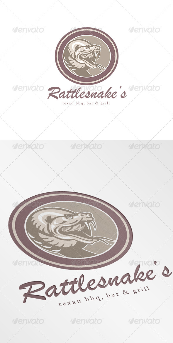 Rattle Snake Texan BBQ Bar and Grill Logo - Animals Logo Templates