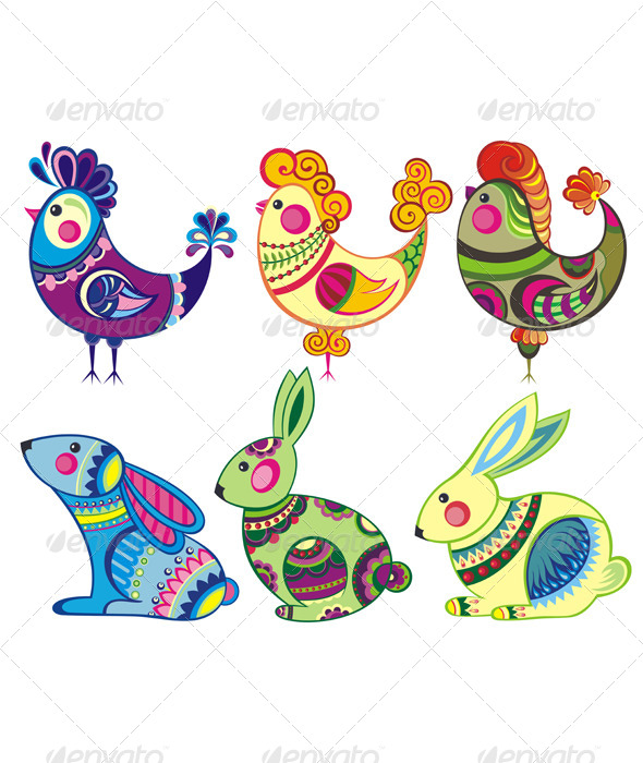 Easter  Rabbits and Chickens - Seasons/Holidays Conceptual