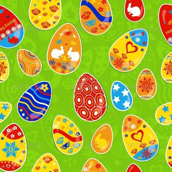 Seamless Multicolored Pattern of Easter Eggs - Miscellaneous Seasons/Holidays