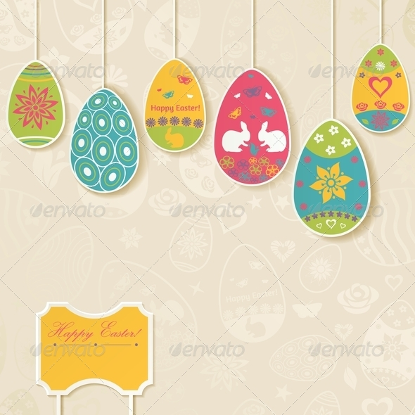Easter Background with Eggs Hanging on Ropes - Miscellaneous Seasons/Holidays