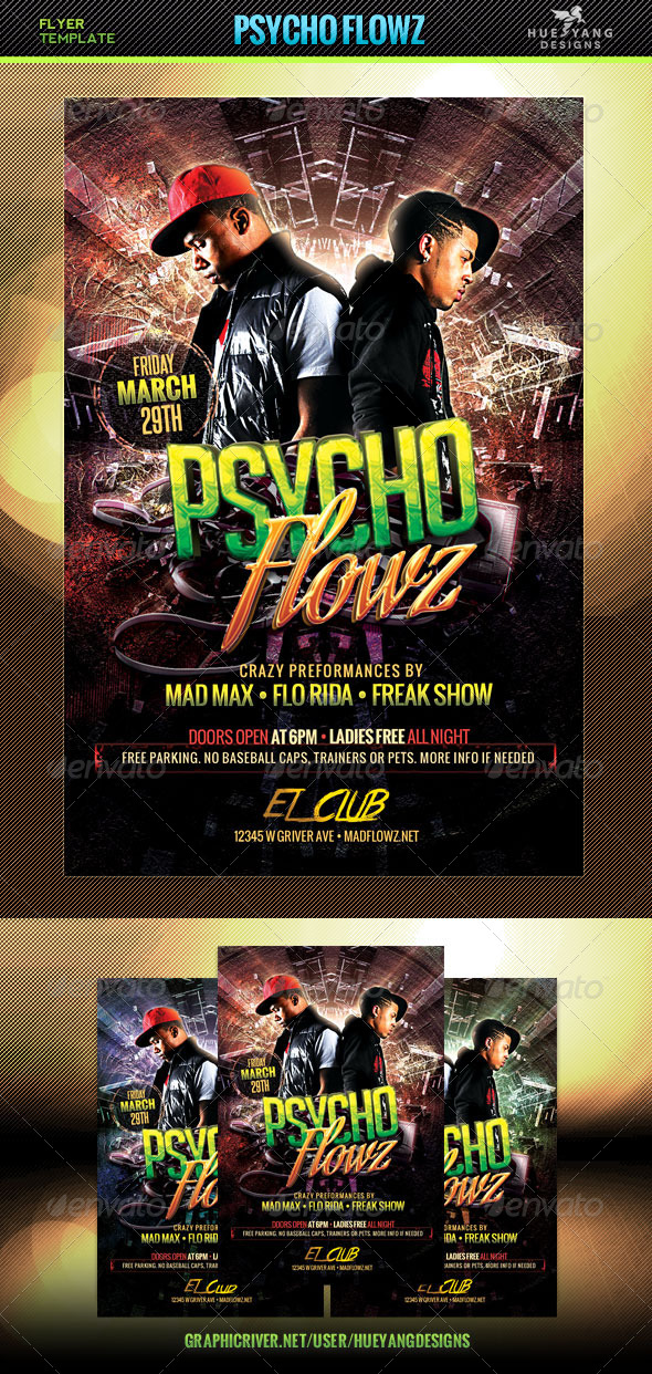Psycho Flowz Flyer - Clubs & Parties Events