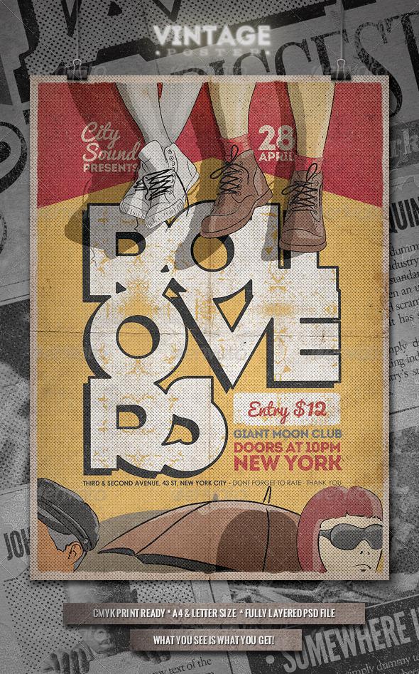 Vintage Poster / Flyer - II - Concerts Events