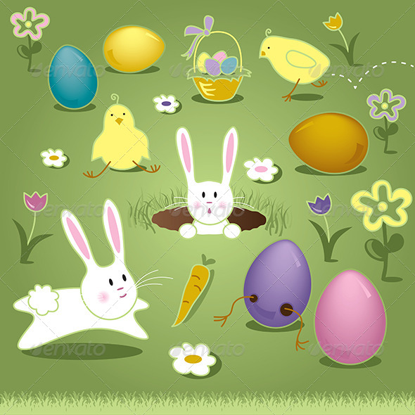 Vector Art Elements Easter Bunny Chicks Eggs Basket - Miscellaneous Seasons/Holidays