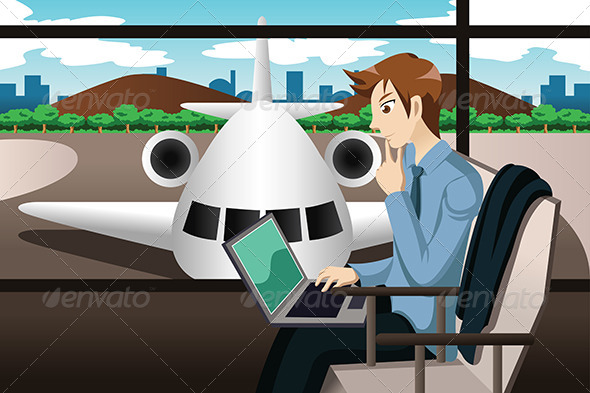 Business Traveler Waiting in the Airport - Business Conceptual