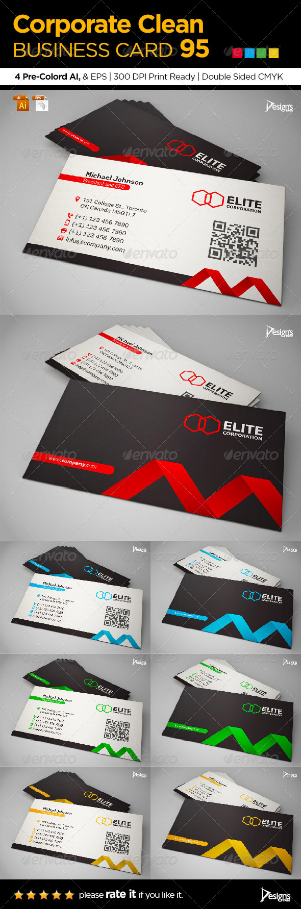 Simple and Clean Business Card 95 - Business Cards Print Templates