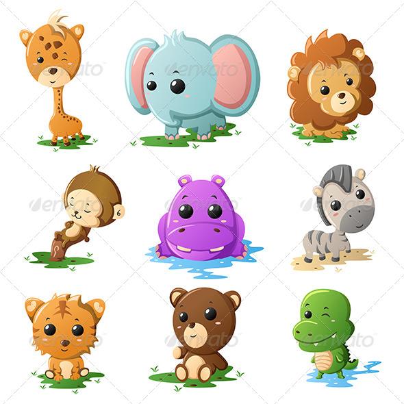 Cartoon Wildlife Animal Icons - Animals Characters