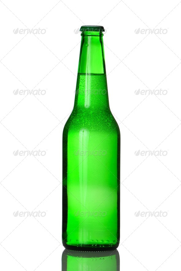 Green beer bottle - Stock Photo - Images