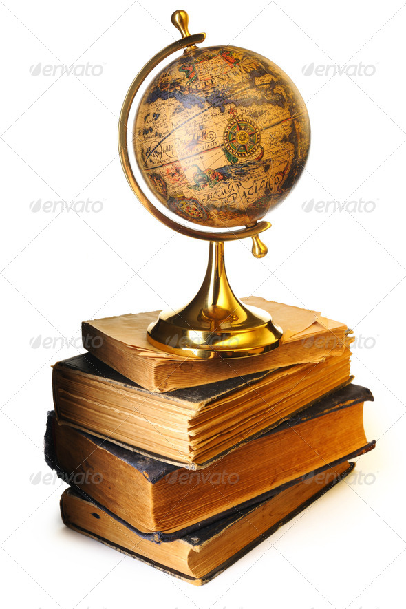Antique globe on books - Stock Photo - Images