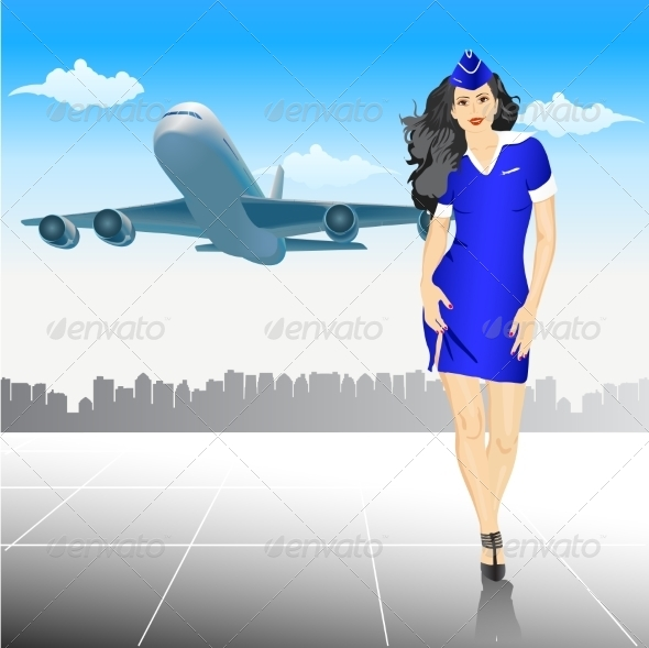 Stewardess at the Airport  - People Characters