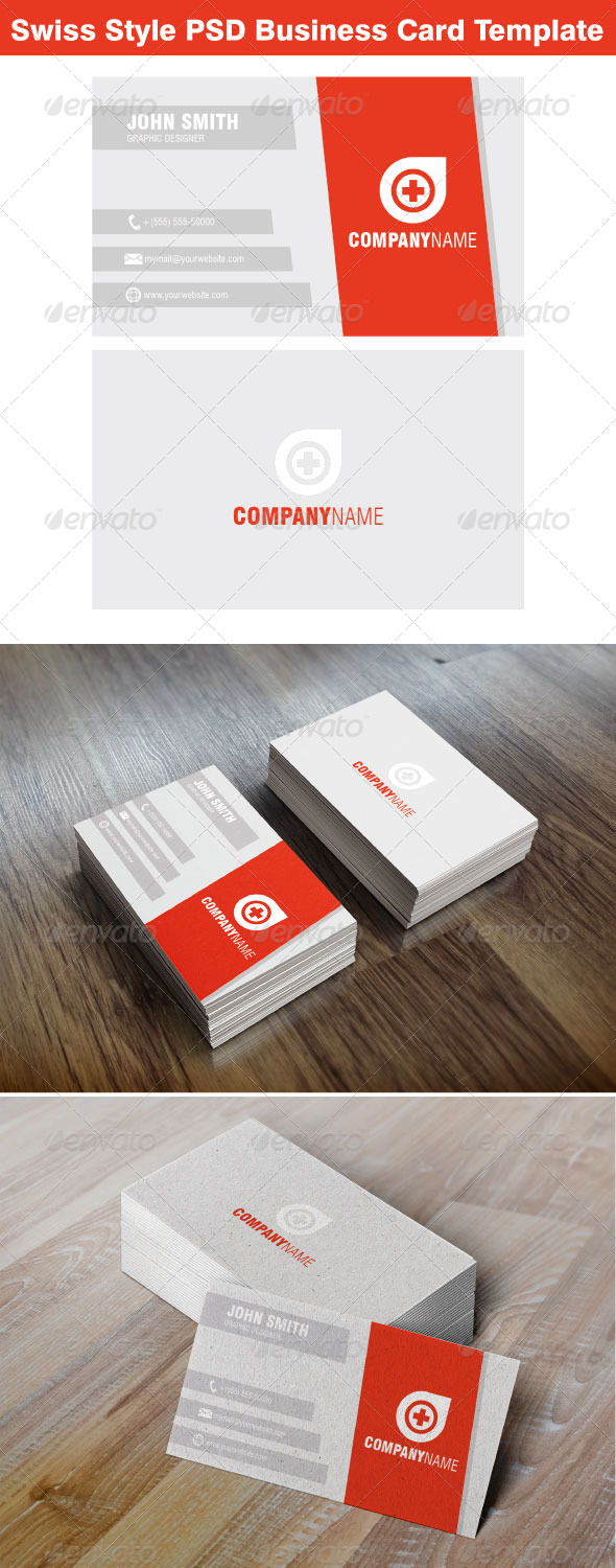 Swiss Style Business Card Template by nzr | GraphicRiver