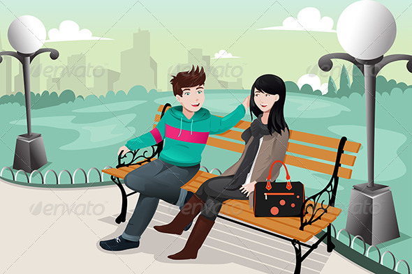 Romantic Couple in a Park - People Characters