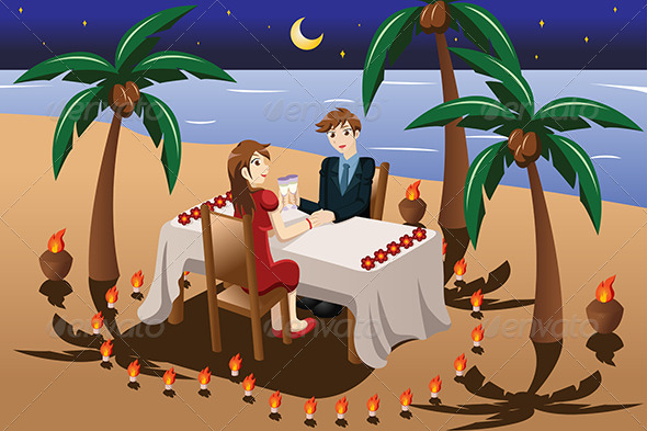 Couple having Romantic Dinner - People Characters