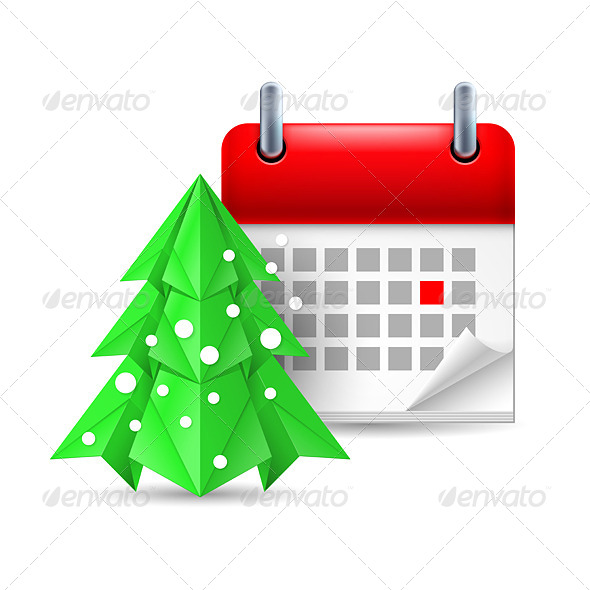 Paper Pine Tree and Calendar - Miscellaneous Vectors