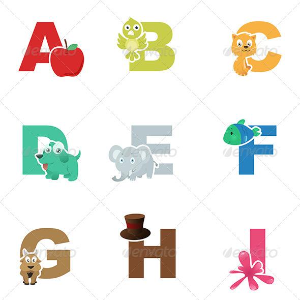 Alphabet Illustration - Objects Vectors