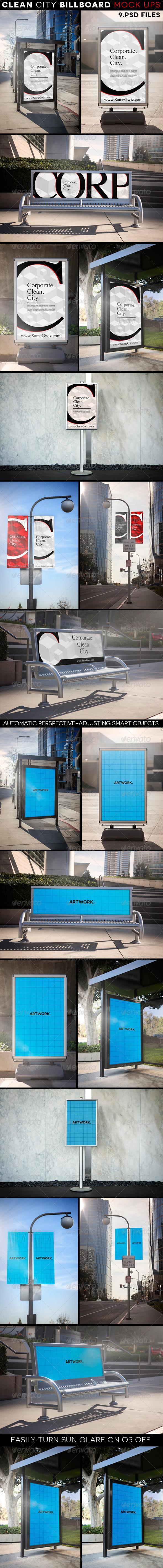 Clean City Advertising Billboard Mock-Ups - Signage Print