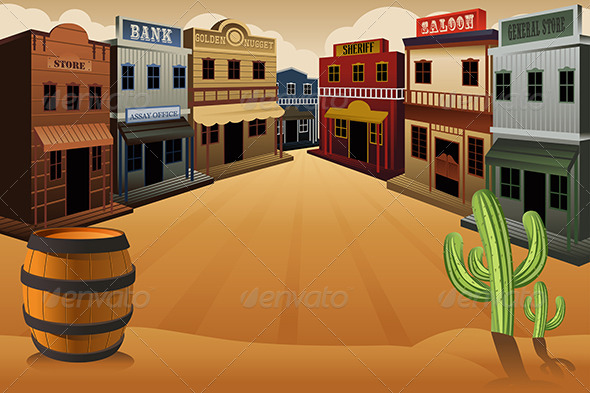 Old western town by artisticco graphicriver - Salon country western ...