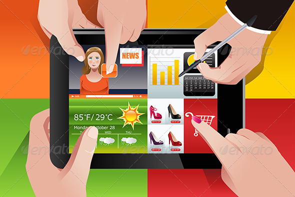 People Using Tablet PC - Commercial / Shopping Conceptual