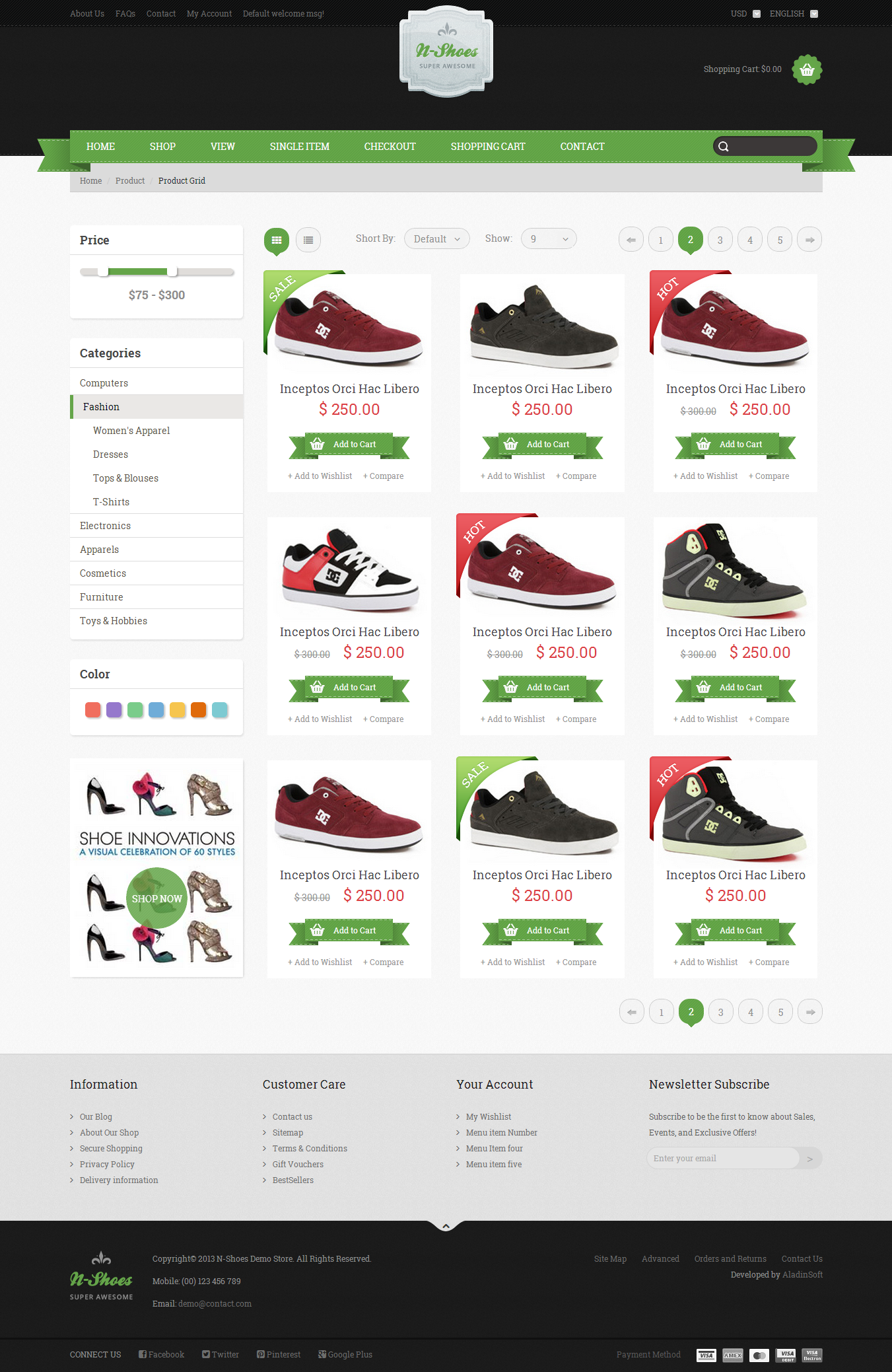 N Shoes Premium Responsive Html5 Store Template By Bulktheme