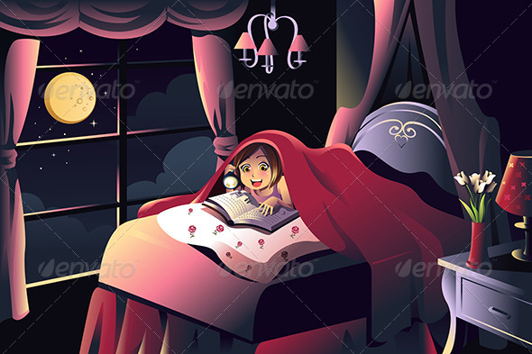 Girl Reading a Book in the Bedroom - People Characters