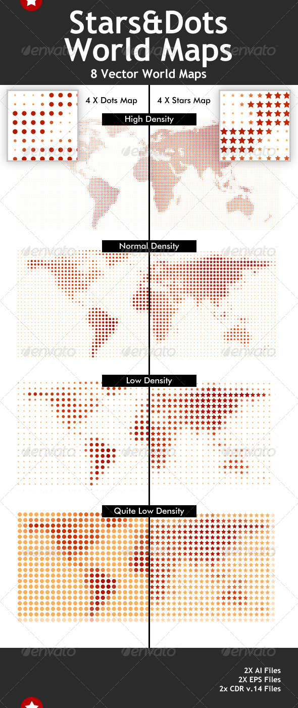 Stars & Dots Vector World Maps - Miscellaneous Vectors