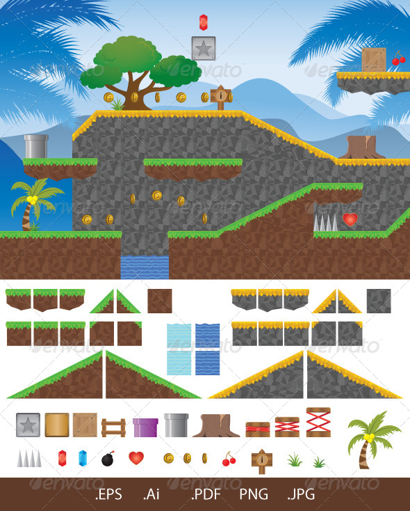 Platform Game Tropical - Retro Technology