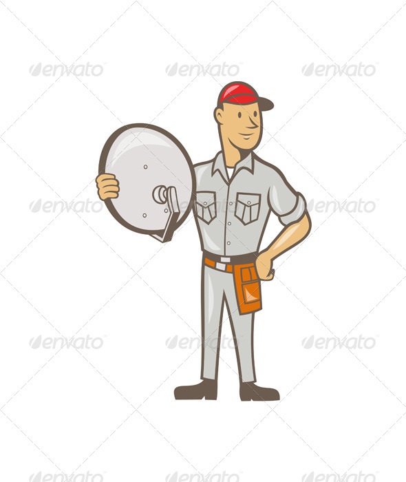 Cable TV Installer Guy Standing - People Characters