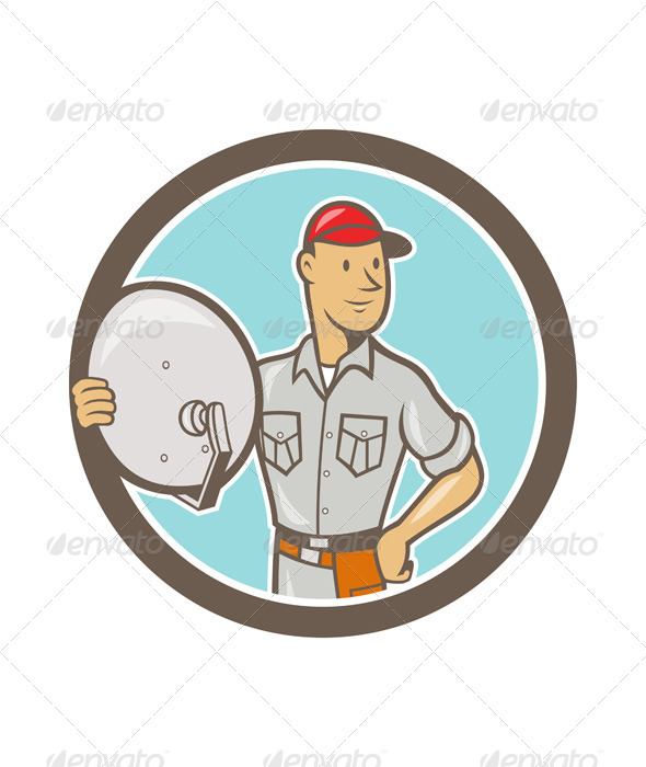 Cable TV Installer Guy Cartoon - People Characters