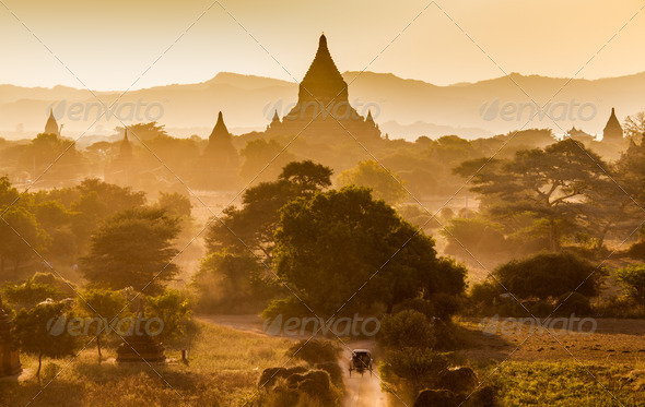 The Temples of bagan at sunrise, Bagan(Pagan), Myanmar - Stock Photo - Images