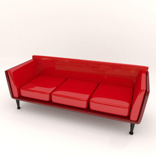 Red Leather Sofa - 3DOcean Item for Sale