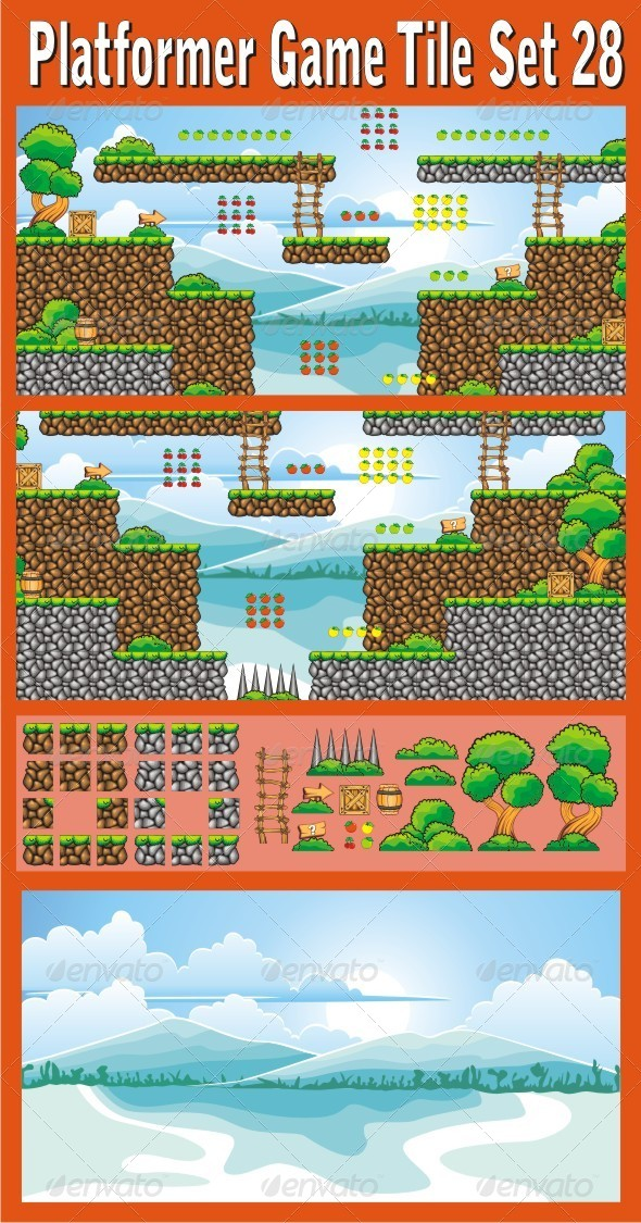 Platformer Game Tile Set 28 - Tilesets Game Assets